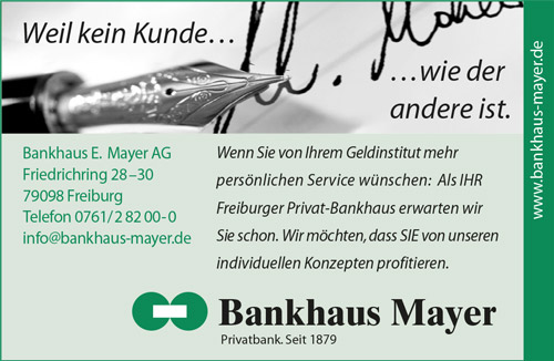 Banner Bankhaus Mayer mit Schreibfeder